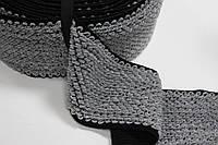 Резинка декоративная 120мм (25м) черный+серый , фото 1