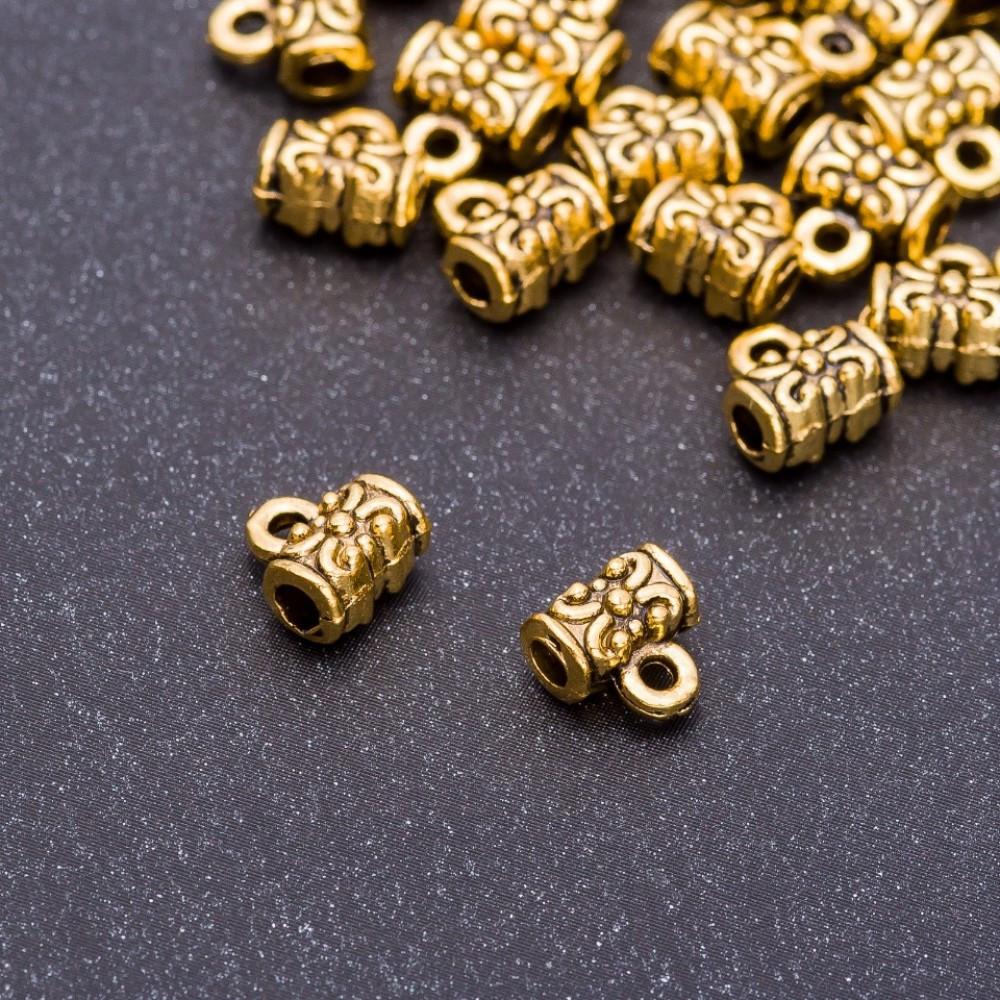 """Фурнитура Бейл держатель """"старое золото"""", диаметр 7х4х7мм dотв-я-3,5мм фасовка 20гр. +- 40шт."""