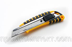 Нож выдвижной 18мм обрезиненный, автозамок