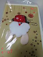 Открытка новогодняя с апликацией дед мороз