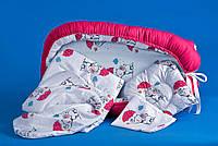 Комплект: кокон+детская постелька JaKid Малиновый с милыми слониками