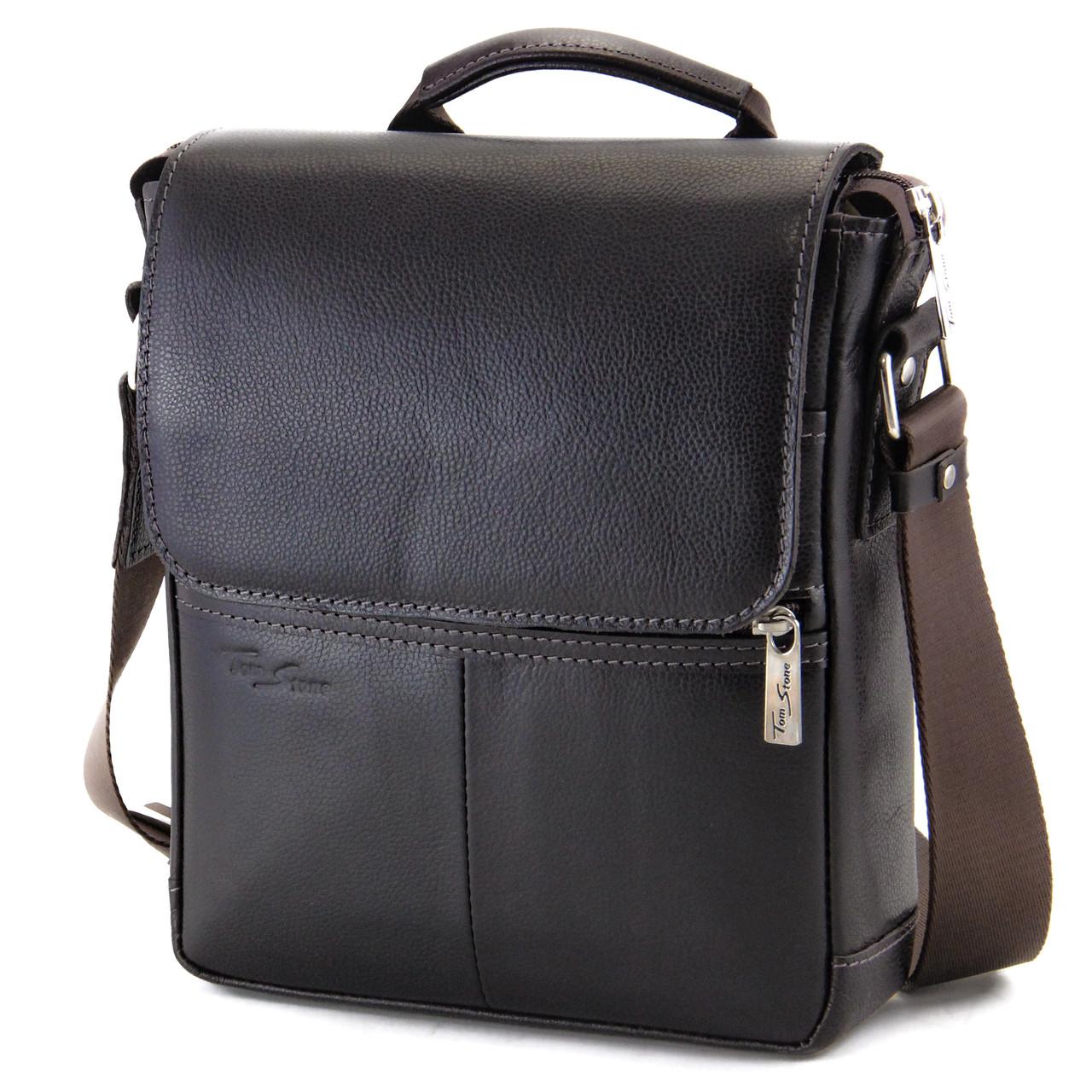 Шкіряна чоловіча сумка з ручкою Tom Stone