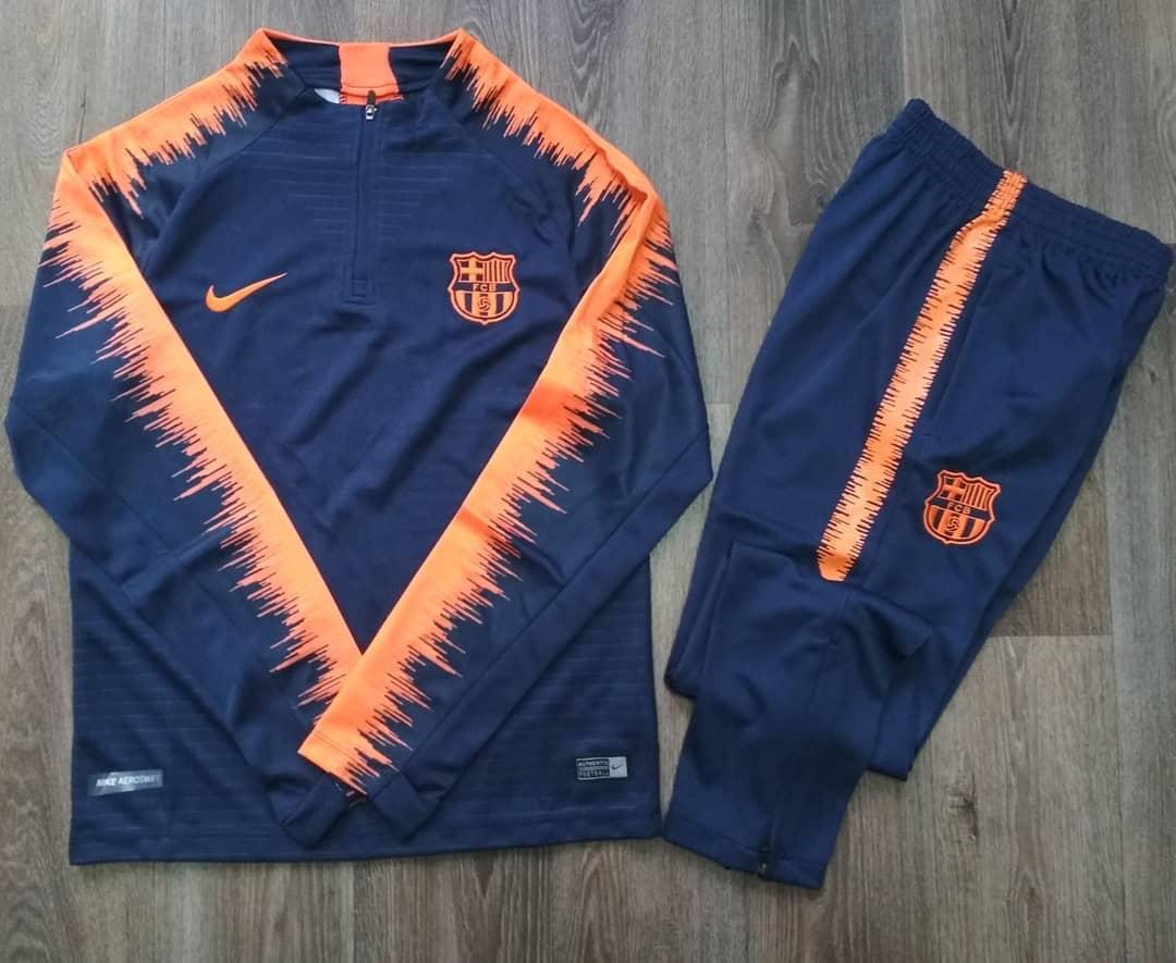 Детский костюм тренировочный Барселона сезон  2017-2018 (сине-оранжевый)