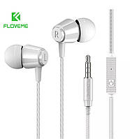 Наушники-вкладыши Floveme проводные HiFi Stereo 3,5 mm с микрофоном (белый)