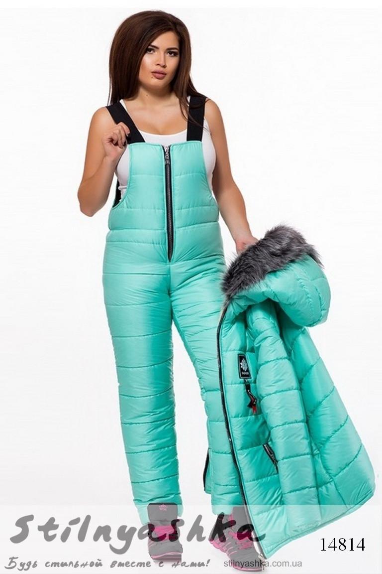 Лыжный теплый костюм-комбинезон большого размера ментол, фото 1