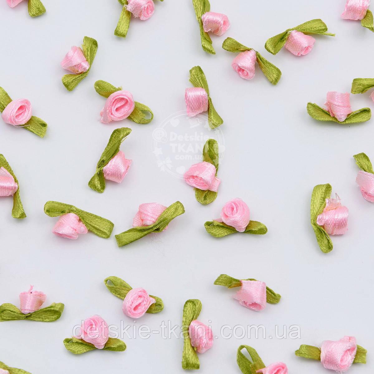 Розочки декоративные розовые с зелёным листочком малые 8 мм (10шт)