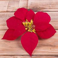 Пуансетия красная бархатная  17 см Новогодний декор