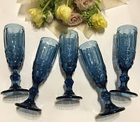"Набор бокалов 6 шт для шампанского ""Винтаж"" синих 180 мл, 34215-14-2"