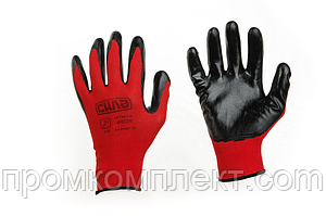Перчатки с вспененным латексным покрытием р10 (красный+черный)