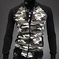 Стильная мужская Бейсбольная куртка миллитари (  олимпийка защитного цета)
