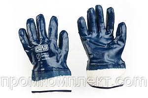 Перчатки c нитриловым покрытием р10 (синие краги с подвесом/ хедером)