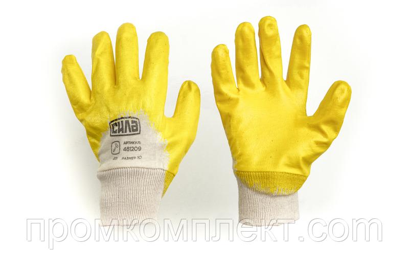 Перчатки с нитриловым покрытием р10 (желтые с подвесом/хедером)