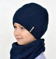 Зимняя шапка на флисе для подростка Софт, синий  (ОГ 56-58)
