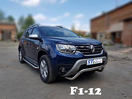 Силовой обвес на передний бампер Renault Dacia  Duster  (F1-12) 60*1.6