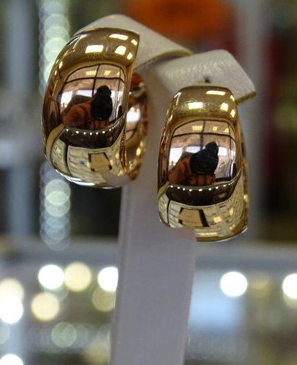 Золотые серьги объемные кольца