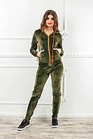 Теплый спортиый костюм из велюра цвета хаки