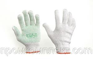 Перчатки Х/Б с ПВХ точкой р10 (белые+зеленый ПВХ мастер)