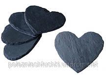 Подставка под бокал или чашку сердце 12х10 см., 4 шт. сланцевая