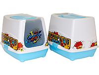 Moderna  ТРЕНДИ КЭТ УЗОР закрытый туалет для кошек, 50х39х39 см, ярко-голубой