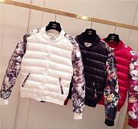 Куртка осенне-весенняя с цветочным принтом (черная, красная, белая)
