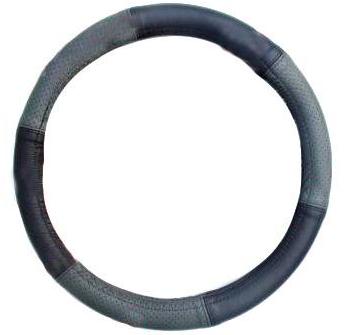 """Чохол на кермо Elegant Maxi шкіра """"преміум"""" чорно-сірий перфорований розмір M 37-38 см EL 105 157"""