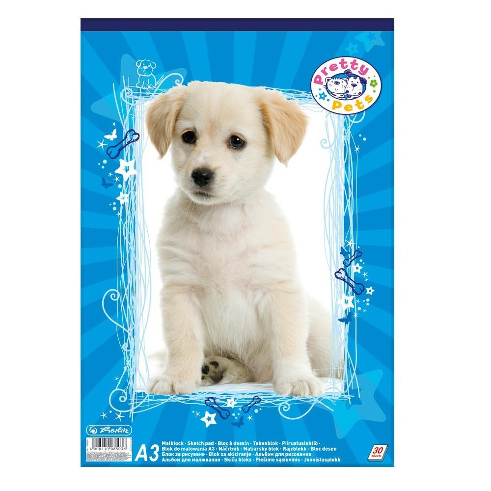 Альбом для рисования Herlitz A3 30 листов 70г Pretty Pets Dog  (10088391D)