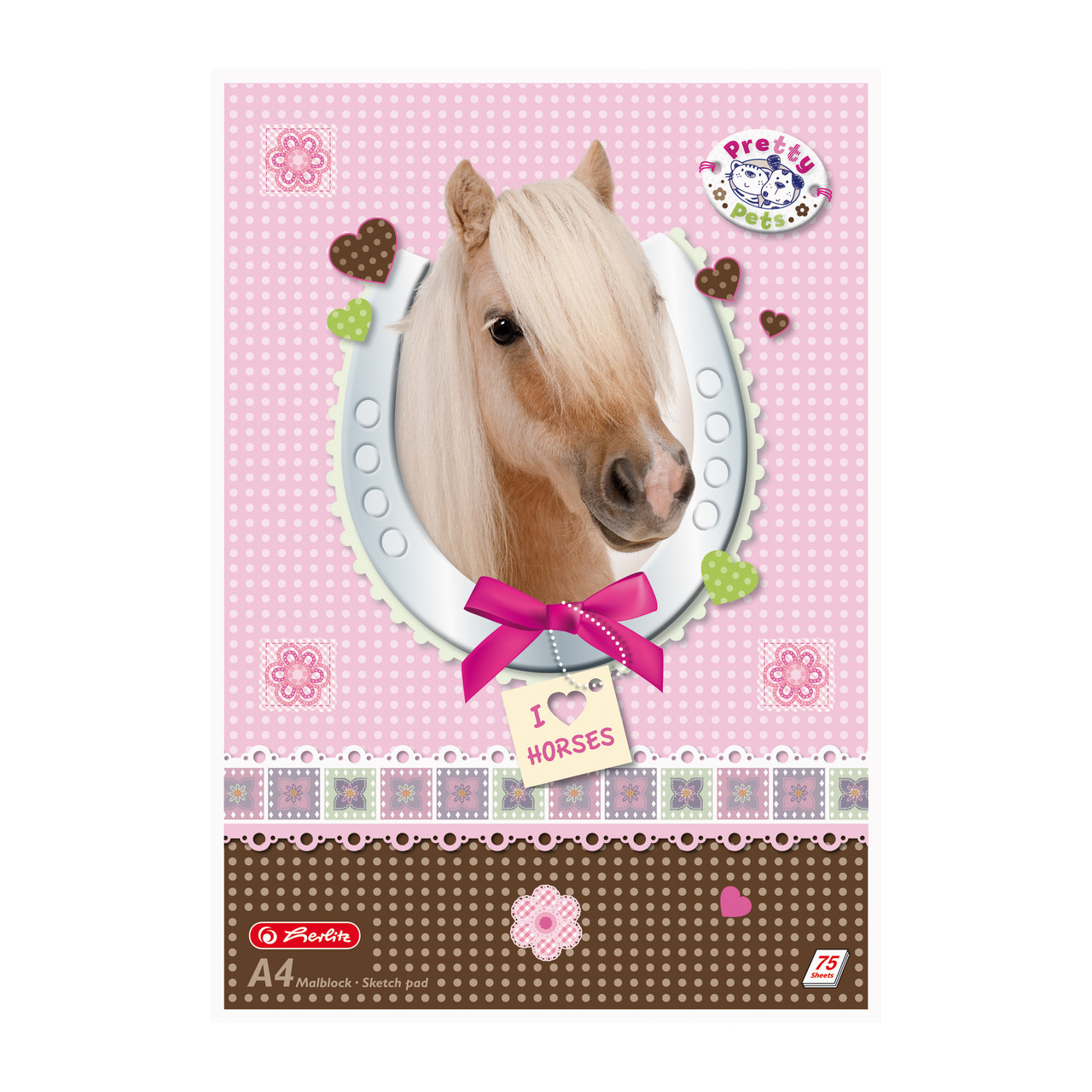Альбом для рисования Herlitz A4 75л 70г Pretty Pets Horse (10089019H)