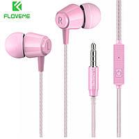 Наушники-вкладыши Floveme проводные HiFi Stereo 3,5 mm с микрофоном (розовый)