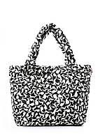 Дута жіноча сумка чорна біла зайчата Poolparty 65 White Rabbits