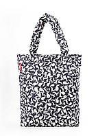 Дута жіноча сумка чорна біла зайчата Poolparty 61 White Rabbits