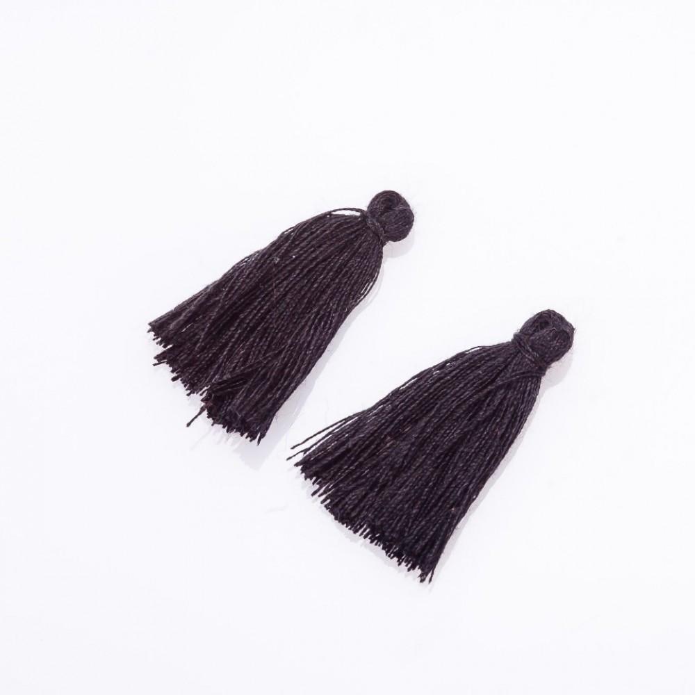 Заготовка для рукоделия Кисть Мини черный коттон, длина 3см, диаметр 4мм пара