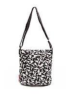 Дута жіноча сумка - планшет чорна біла зайчата Poolparty 59 White Rabbits