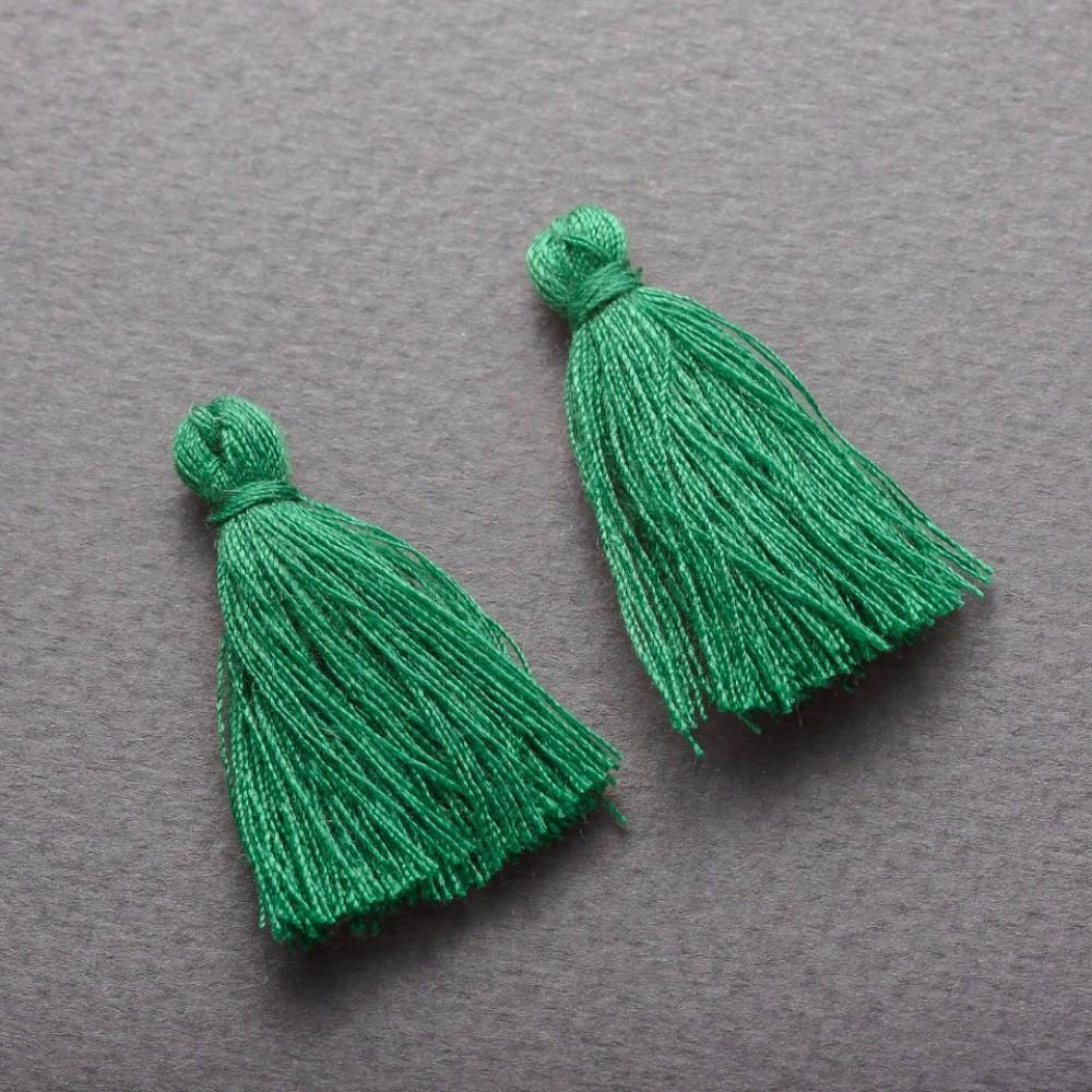 Заготовка для рукоделия Кисть Мини зеленый коттон, длина 3см, диаметр 5мм пара