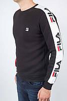 Мужской флиссовый свитшот  FILA (фила) чёрный зима м
