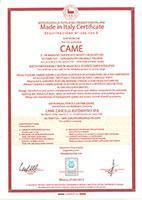 """Сертификат CAME """"Сделано в Италии"""""""