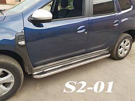 Нержавеющие боковые площадки на Renault Duster 2018+ гг. d60