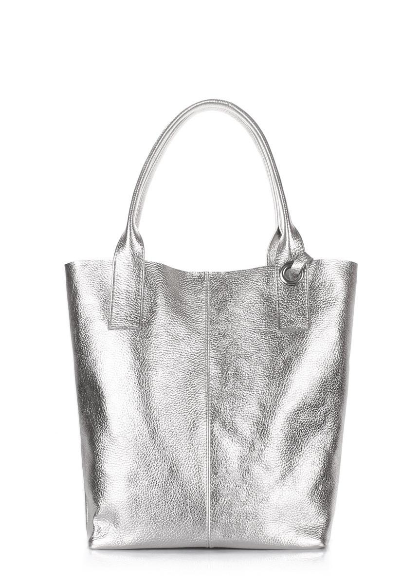 Срібна шкіряна жіноча сумка   Серебристая кожаная женская сумка Poolparty  Podium Silver 1f95971dedc7b