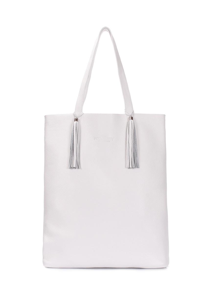Сумка шкіряна жіноча біла   Белая женская кожаная сумка Poolparty Angel  White 7cb8f8e649cbf