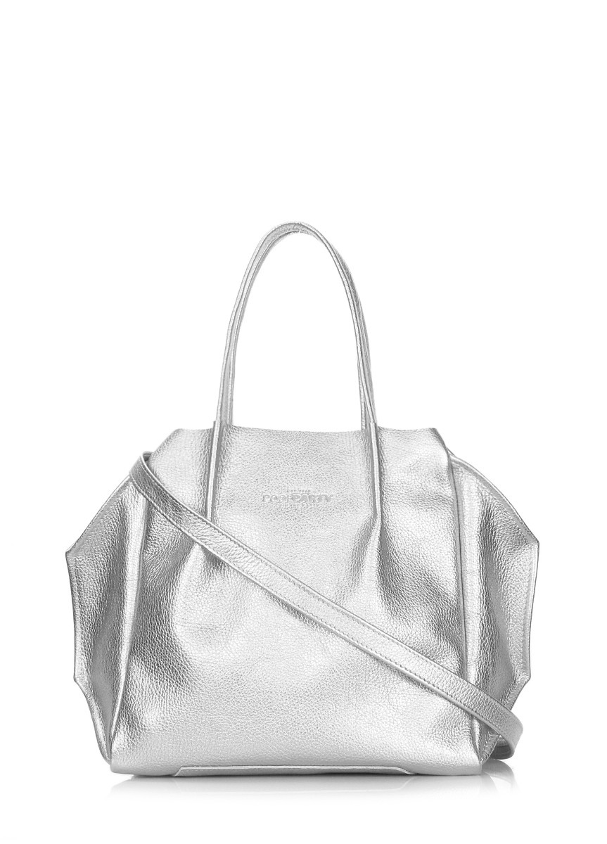 Сумка шкіряна жіноча срібляста   Кожаная женская сумка серебро Poolparty  Soho Remix Silver c8cceef758365