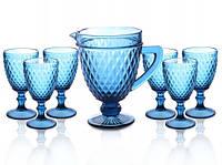 "Набор ""Кедр"" синий (6 бокалов 300 мл + кувш 1 л), 34215-9-2"