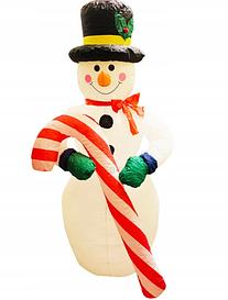 Надувний Сніговик Гігант Новорічна скульптура з led підсвічуванням Висота 5 м.