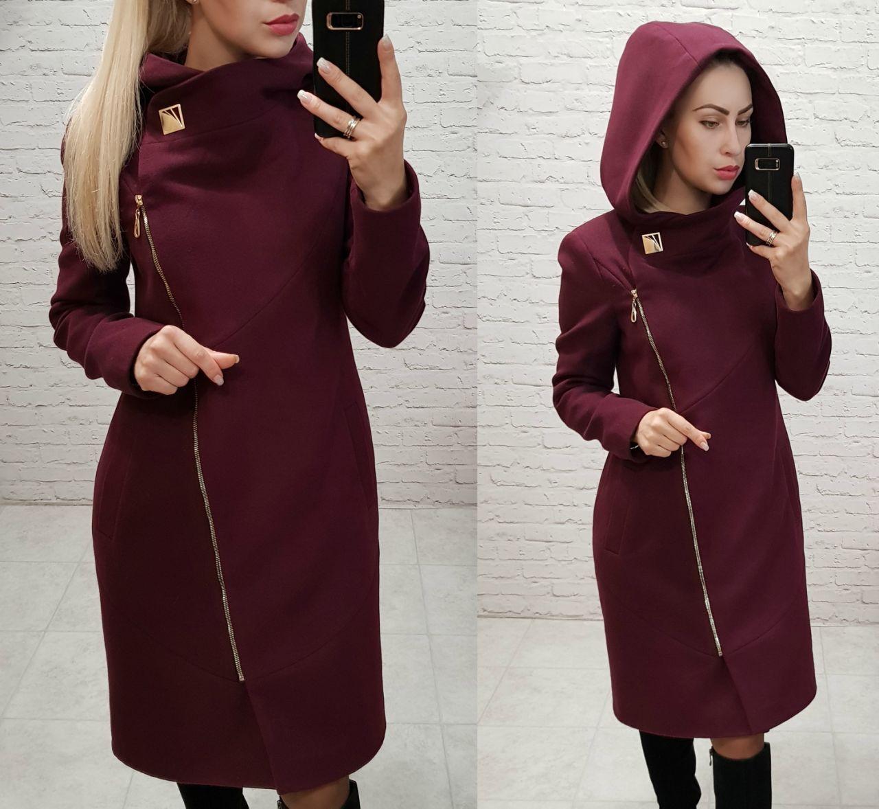 Пальто кашемировое с капюшоном, модель 136, цвет - марсала