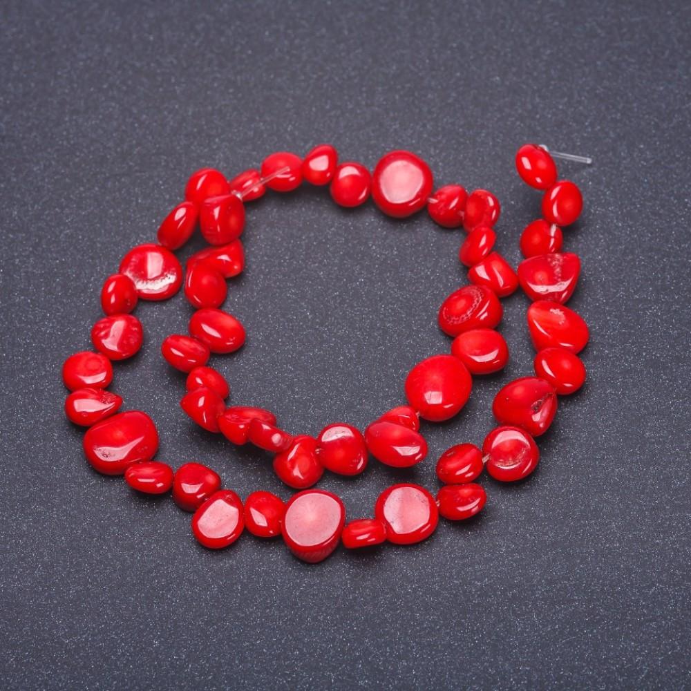 """Бусины натуральный Коралл красный """"бабочка"""" """"монетка галтовка"""", диаметр 7мм, длина 37см нитка"""