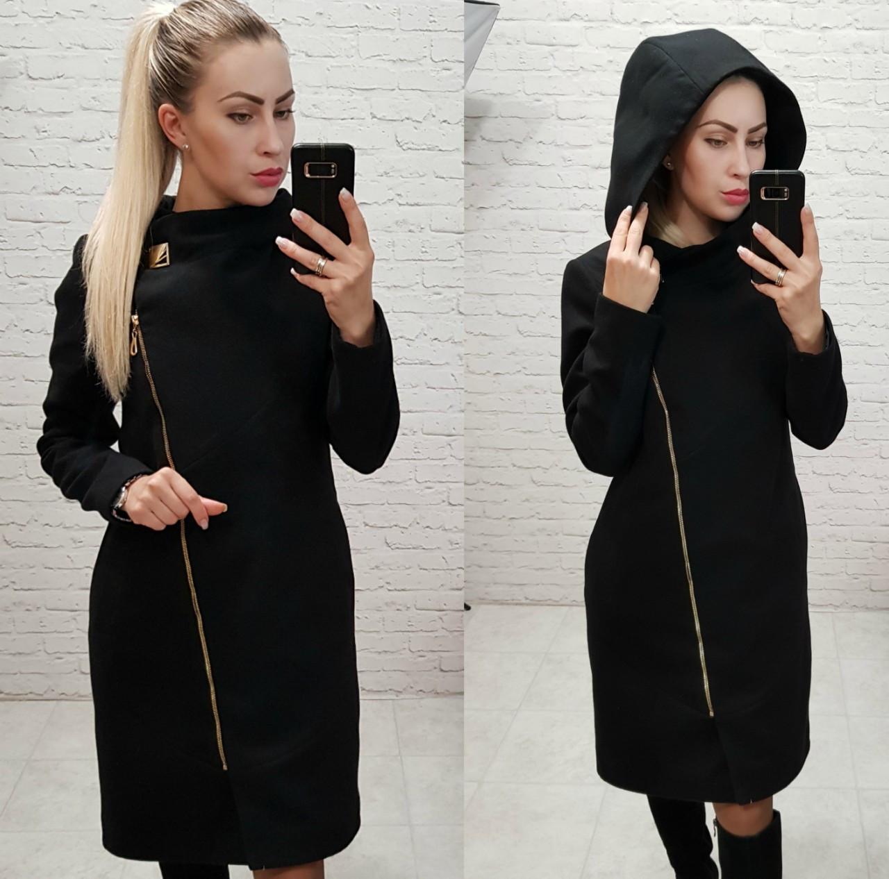 Пальто кашемировое с капюшоном, модель 136, цвет - черный