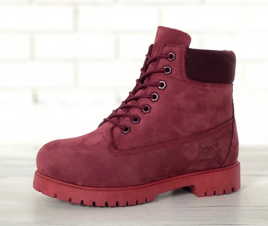 "Женские зимние ботинки Timberland ""Borgundy"" ( в стиле Тимберленд )"