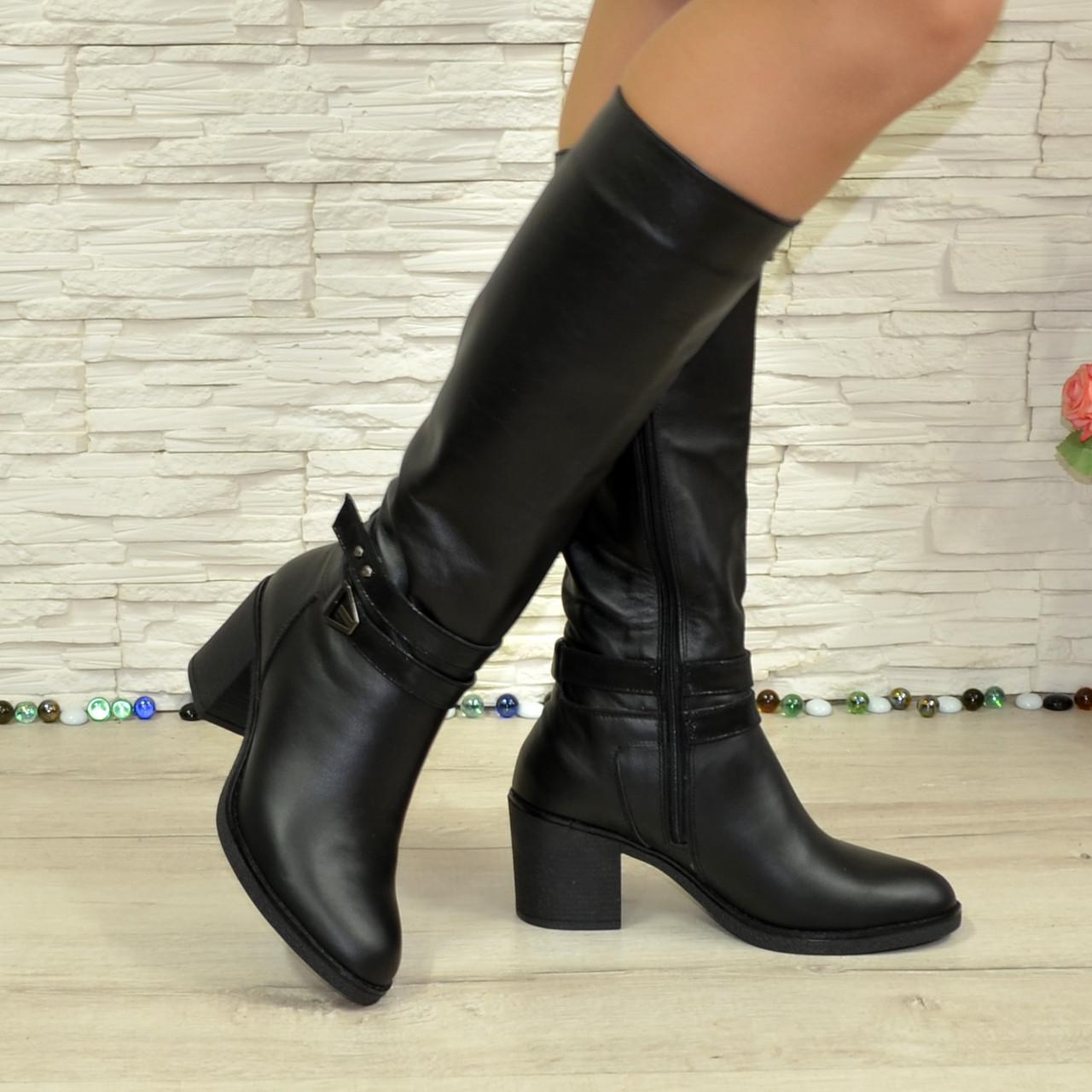 60b0e587b Женские зимние черные кожаные сапоги на устойчивом каблуке. В наличии 37  размер