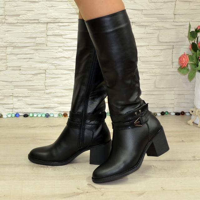 839f60014 Женские зимние черные кожаные сапоги на устойчивом каблуке ...