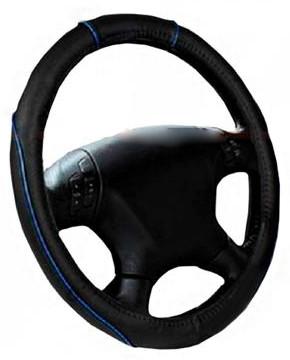 Чохол на кермо чорний з блакитною ниткою розмір М Elegant Plus EL 105410