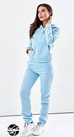 Женский теплый спортивный костюм голубого цвета с капюшоном. Модель 19893. Размеры 42,46,50, фото 1