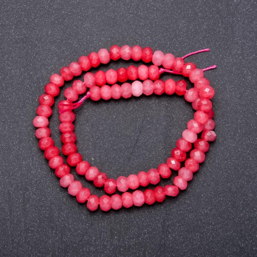 Бусины из натурального камня Турмалин розовый граненный рондель, диаметр 6х4мм, длина 40см